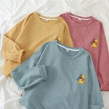 Autumn T-shirt Women 2019 New Long Sleeve Striped Cartoon kawaii The Pooh Bottoming Shirt Female Chic Korean Students