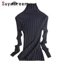 Suyadream Женский пуловер с высоким воротом однотонный облегающий