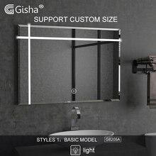 Gisha, заказной размер, с подсветкой, умное зеркало, светодиодный, bluetooth, зеркало для ванной, с подсветкой, зеркало для дефоггера, для ванной комнаты, зеркало для макияжа, 2G8205