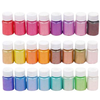 24 Pcs/set Mica Powder Epoxy Resin Dye Pearl Pigment Pearlescent Slime DIY Crafts Making Crystal Glitter