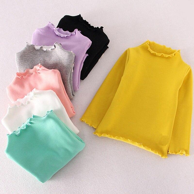 Милая Детская рубашка ярких цветов; Повседневная Блузка для девочек; топы; Осенняя водолазка для маленьких девочек; топы с длинными