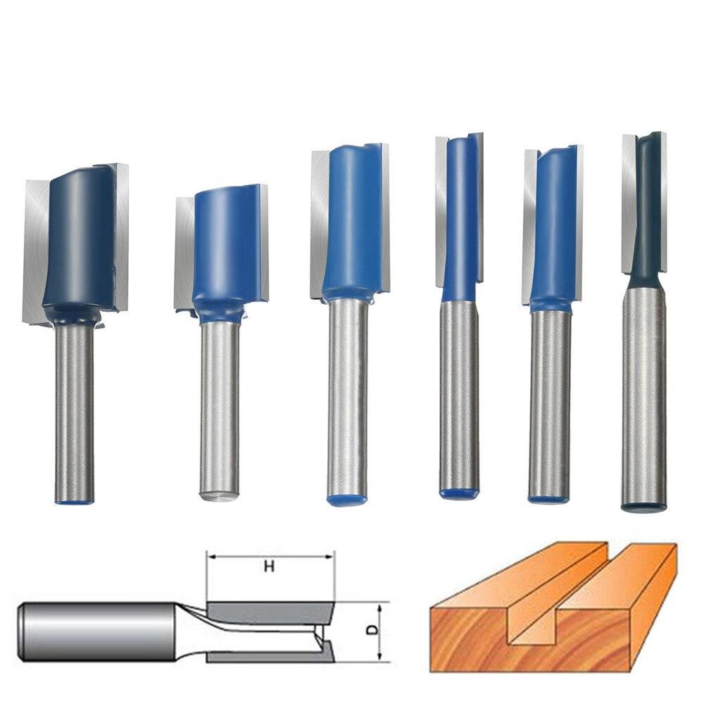 6pcs 1/4 Shank Straight Router 1/4 5/16 3/8 1/2 5/8 3/4 Wood  Shank Router Bit Set Working Cutter