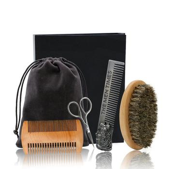 Beard Comb Set Double Beard Oil Head Shape Beard Comb Brush Care Beard Oil Tool Beard Comb Set Professional 1