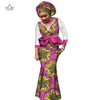 2018 جديد تنورة الأفريقية مجموعات للنساء الدانتيل النسيج مزيج طباعة الشمع النسيج تنورة بدلة أعلى + تنورة + حك الزفاف WY1551 1