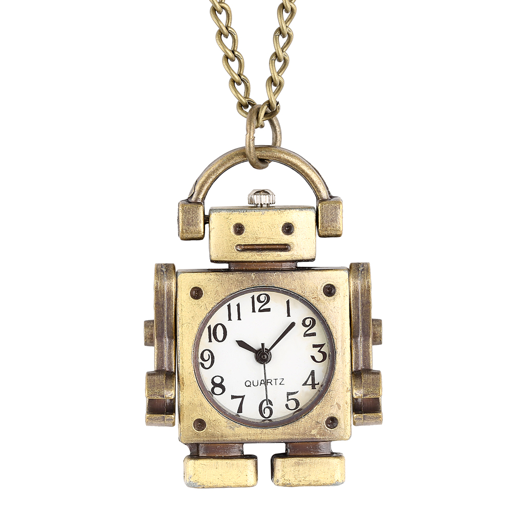 Attractive Robot Shape Pocket Watch For Male Necklace Stylish Open Face Quartz Pendant Watch For Kids Gift Montre Gousset Homme