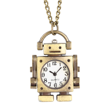 Attractive Robot Shape Pocket Watch for Male Necklace Stylish Open Face Quartz Pendant Watch for Kids Gift montre gousset homme цены