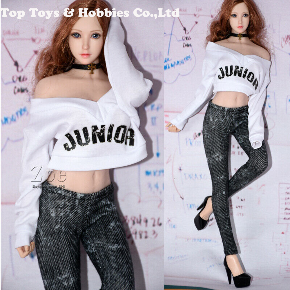 1/6 Scale White Long Sleeve Lazy Style Loose White T-Shirt Gray Jeans Girl Cloth Set For 12'' Girl TBLeague Seamless Body