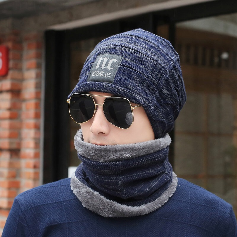 Hot Sell Winter Knitting Hat Scarf Set Men Solid Color Warm Cap Scarves Male Winter Outdoor Beanies Fur Wool Hats Scarf Set