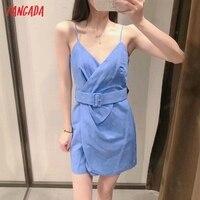 Tangada Women's Summer Dress Blue Dress With Belt Strap Adjust Sleeveless 2021 Fashion Lady Elegant Dresses 3H772 2