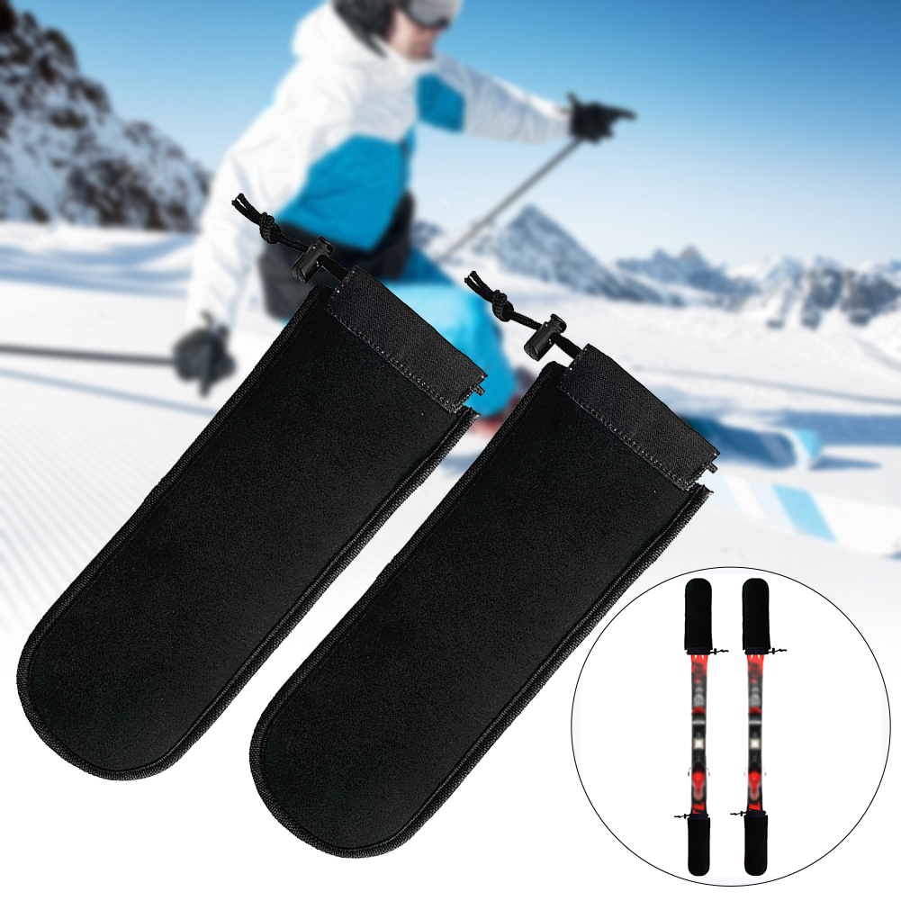 2PCS Drawstring Space Saving Board Head Ski SBR Adjustable Snowboard Protectors Foldable Outdoor Sports Elastic Soft Black