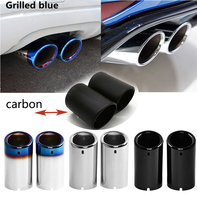 2PCS Carbon Fiber Car Exhaust Tip Muffler Pipe Cover For Volkswagen VW Tiguan Touran Passat Polo Jetta Golf 6 7 MK6 MK7 1 4T 1 6