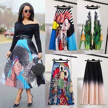 Spring and Summer 2021 New Women's Cartoon Printed Pleated Skirt All-match Elastic Skirt Mid-Length Skirts for Women