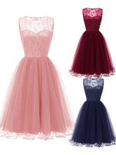 Lace 2020 Bridesmaid Dresses Short  A-Line Sleeveless Tulle Formal Party Dresses Elegant Pink Ball Gown women dress long party ball prom gown sleeveless formal bridesmaid lace dresses