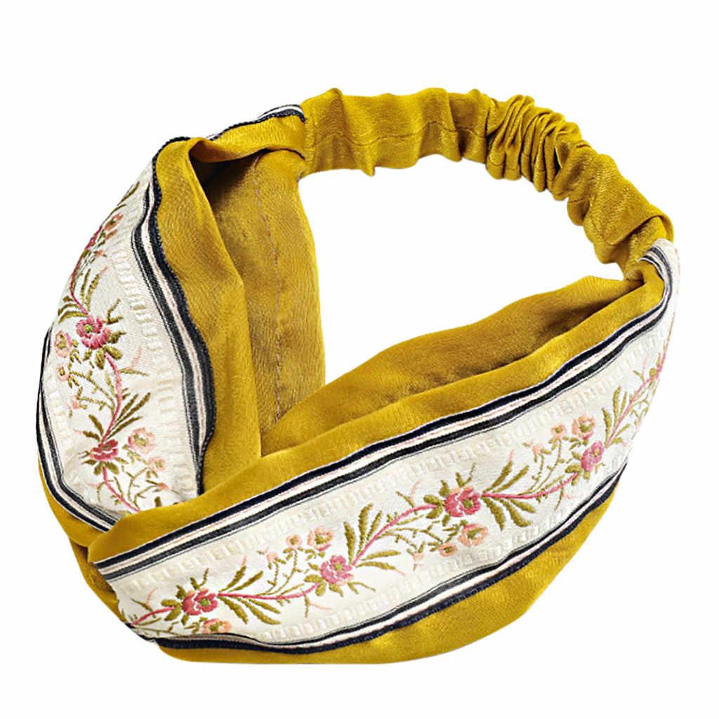 Kolorowe kobiety dziewczyny lato czeski opaski do włosów druku opaski w stylu Vintage krzyż Turban bandaż bandany opaski do włosów akcesoria do włosów