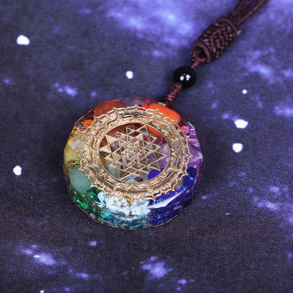 Orgonite Pendant Sri Yantra Necklace Sacred Geometry Chakra Energy ...