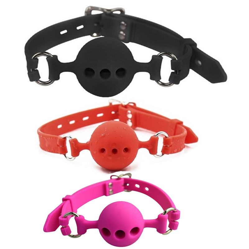 Fetish Extreme Full Silicone Breathable Ball Gag,bondage open Mouth Gags,<font><b>Adult</b></font> <font><b>Sex</b></font> <font><b>Toys</b></font> <font><b>For</b></font> <font><b>Couple</b></font> <font><b>adult</b></font> game Size S M L image