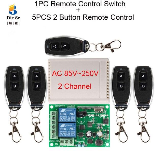433MHz 범용 무선 원격 제어 AC 85V 220V 2CH 릴레이 수신기 모듈 차고 문 램프 전구 전기 기계 빛
