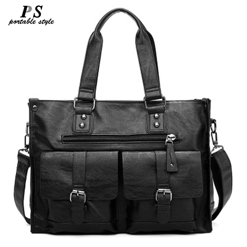 New Leather Laptop Bag Men Black Briefcase 15.6
