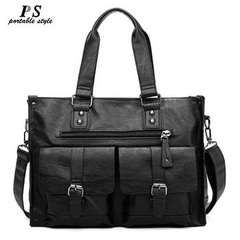 "New leather laptop bag men black Briefcase 15.6"" Fashion Business Bags vintage Casual mens computer bag office bags for men"