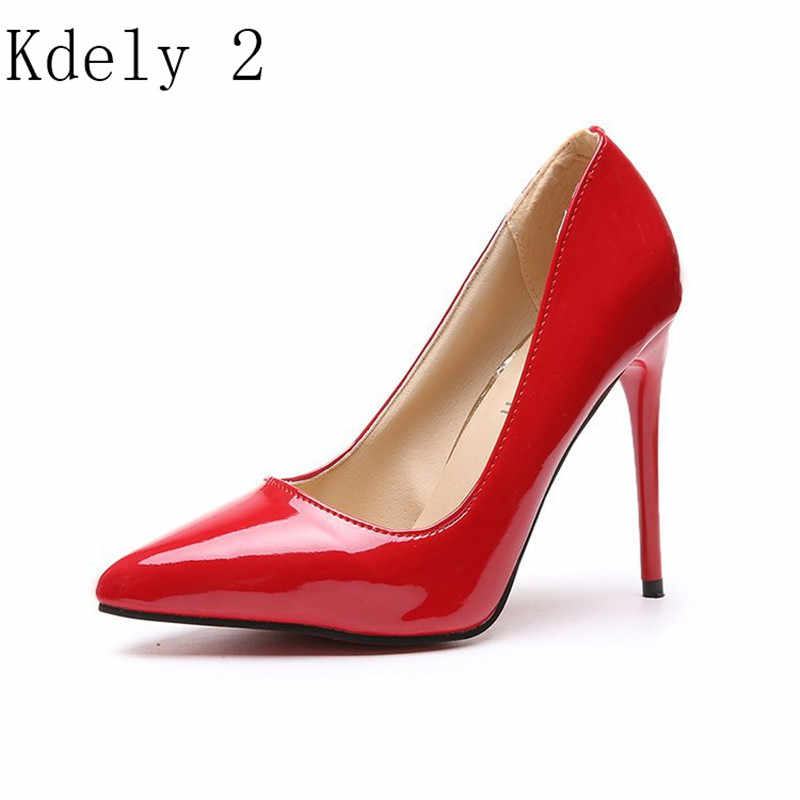 Nóng Nữ Giày Nữ Mũi Nhọn Bơm Bằng Sáng Chế Áo Da Cao Gót Xuồng Cưới Zapatos Mujer Xanh Dương Rượu Vang Đỏ Plus Kích Thước 34-44