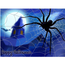 Plush black big spider. Spider web. Spider cotton props simulation spider toy family party Halloween props decoration