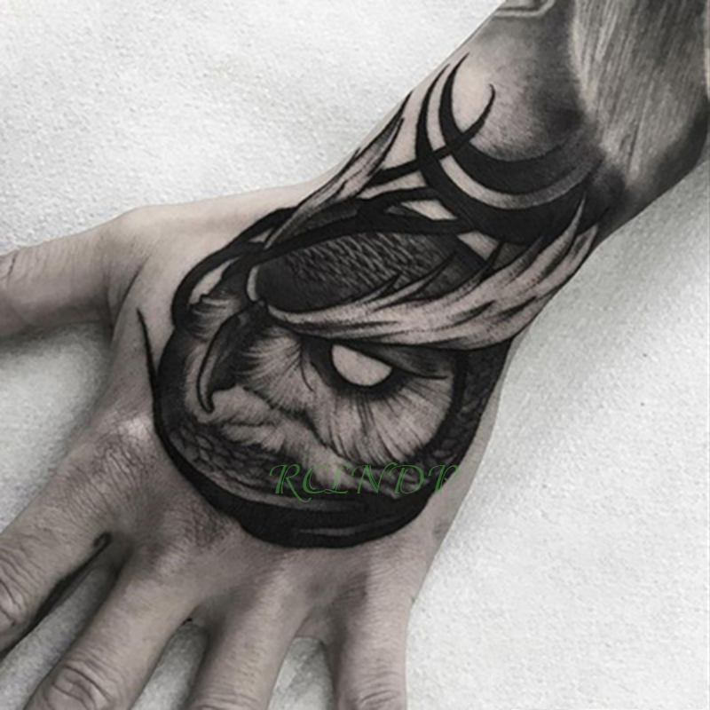 Waterproof Temporary Tattoo Sticker Owl Bird Animal Fake Tatto Flash Tatoo Hand Arm Middle Size Art Tattoos For Boy Women Men