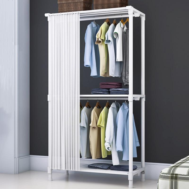 Simple Curtain Coat Rack Multi Functional Floor Folding Drying Rack Home Bedroom Wardrobe Closet Indoor Clothing Rack Hanger
