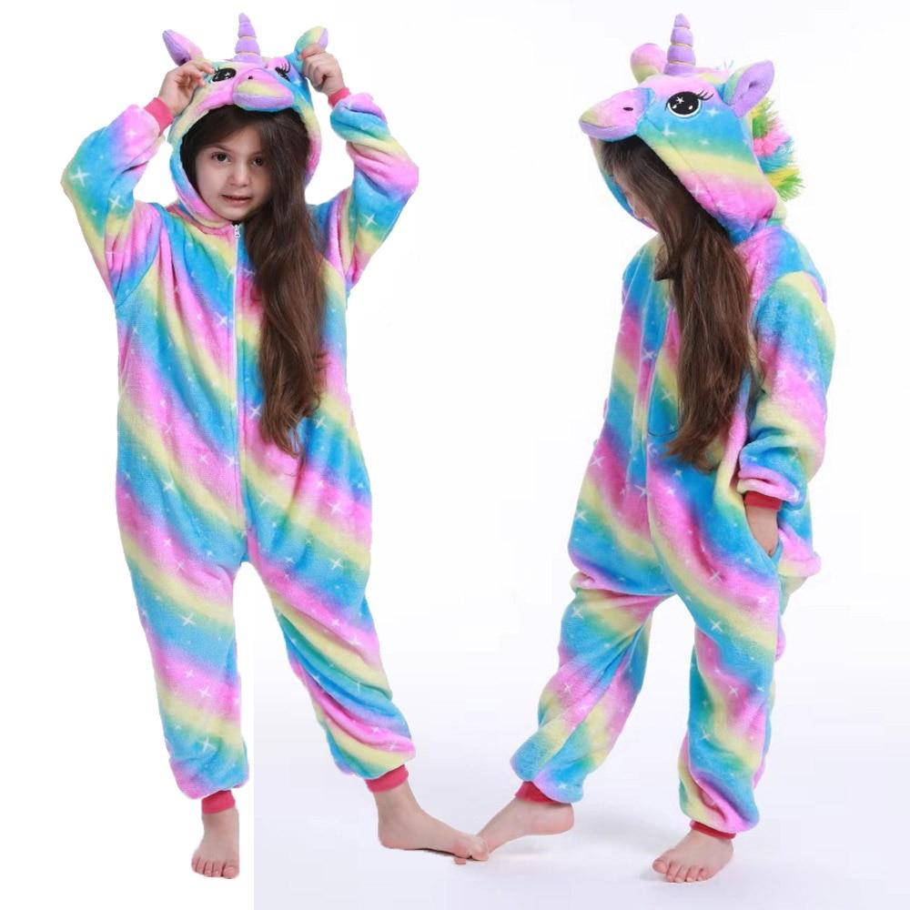 kids winter stich pajamas children panda dinosaur sleepwear unicorn kigurumi onesies for boys girls blanket sleeper baby costume
