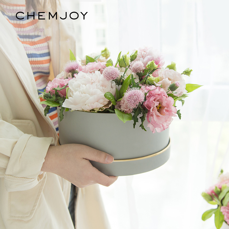 Round Cardboard Paper Flower Boxes With Lid Rose Box Valentines Day Florist Gift Party Favor Packaging Box Wedding Decoration