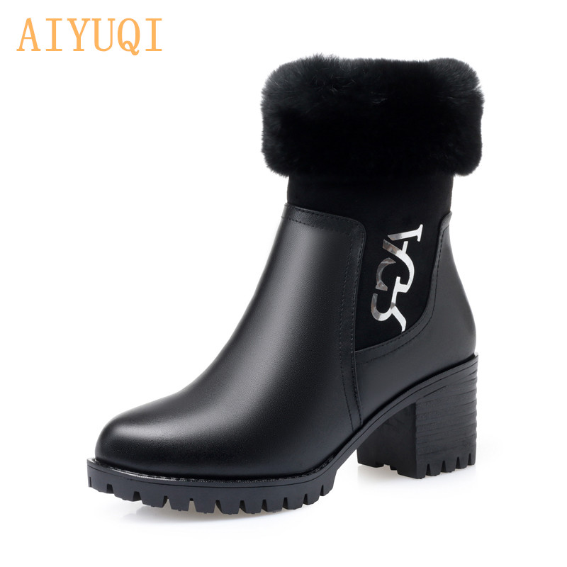 AIYUQI Ankle booties women genuine leather 2019 winter boots high heel fashion Chelsea