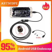 Antscope 7mm/5,5mm 1M micro USB del endoscopio 2m 6LED endoscopio Cámara Android impermeable de PCB mini cámara de inspección de PC(China)