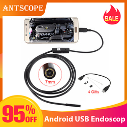 Antscope 7mm/5,5mm 1M micro USB del endoscopio 2m 6LED endoscopio Cámara Android impermeable de PCB mini cámara de inspección de PC