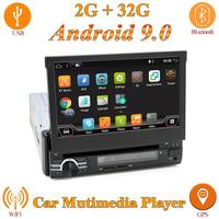 1 din car radio dvd player for universal Flip up screen gps navigation Android 9.0 RAM 2G free camera map