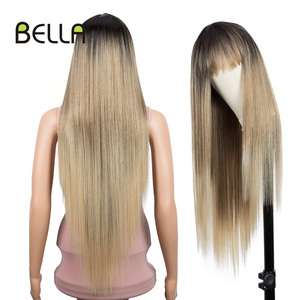 Bella Synthetic Wig Long Straight Hair Wig With Bangs Blonde Pink Purple 6 Colors Dark Root Ombre 32 inch Wigs For Women Cosplay