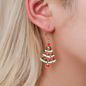 Santa Claus Snowman Earring Snowflakes Eardrop Merry Christmas Decor for Home Christmas Gift Xmas Decor Nidadad New Year 2021