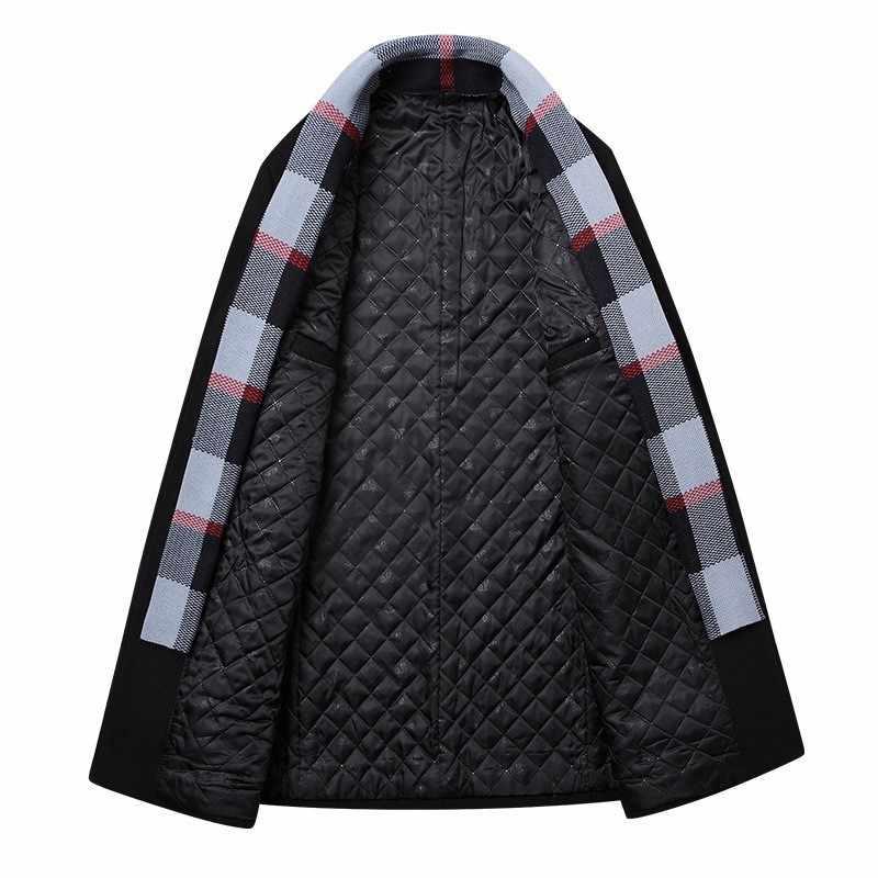 Inverno Uomini di Ufficio di Lavoro Slim Fit Lana Miscele Cappotto Lungo di Spessore di Cotone Imbottito di Lana Caldo Soprabito Uomo D'affari Sciarpa Collare cappotto
