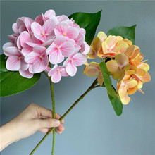 Branche d'hortensia d'impression 3D de luxe avec des feuilles vertes vraie touche fleurs artificielles maison table bureau décoration de mariage flores