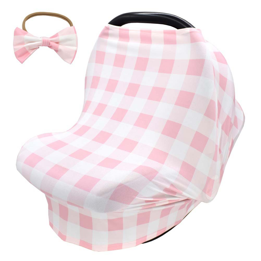 Hair-Band-Set Safety-Seat-Cover Breastfeeding-Towel Baby Bow Fresh Multi-Function Plaid
