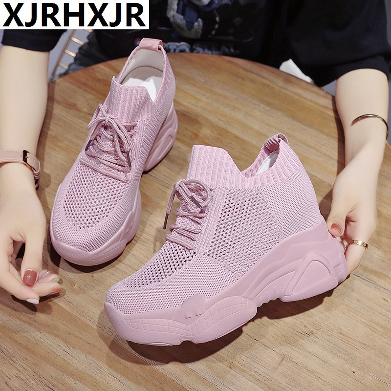 XJRHXJR Size 34-40 Women White Sneakers Platform Shoes Woman Pumps Autumn Tennis Shoes Summer Heels Shoes Height Increasing 10CM