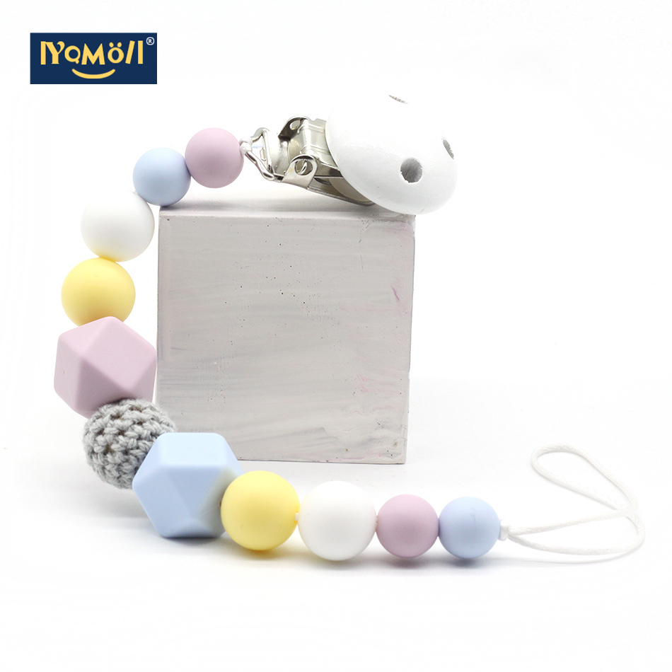 Baby Pacifier Clips Dummy Clip Silicone Beads Chew Toys  Pacifier Holder Baby Chains Safe Teething Chain Baby Teether