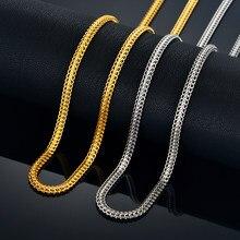 Collier plat en forme de queue de renard, couleur or et argent, chaîne serpent Filmy étanche, bijoux cadeaux pour femmes et hommes