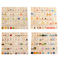 MWZ 100 Pieces Small Box Double Sided Circular Bead Domino Children Building Wooden Toys