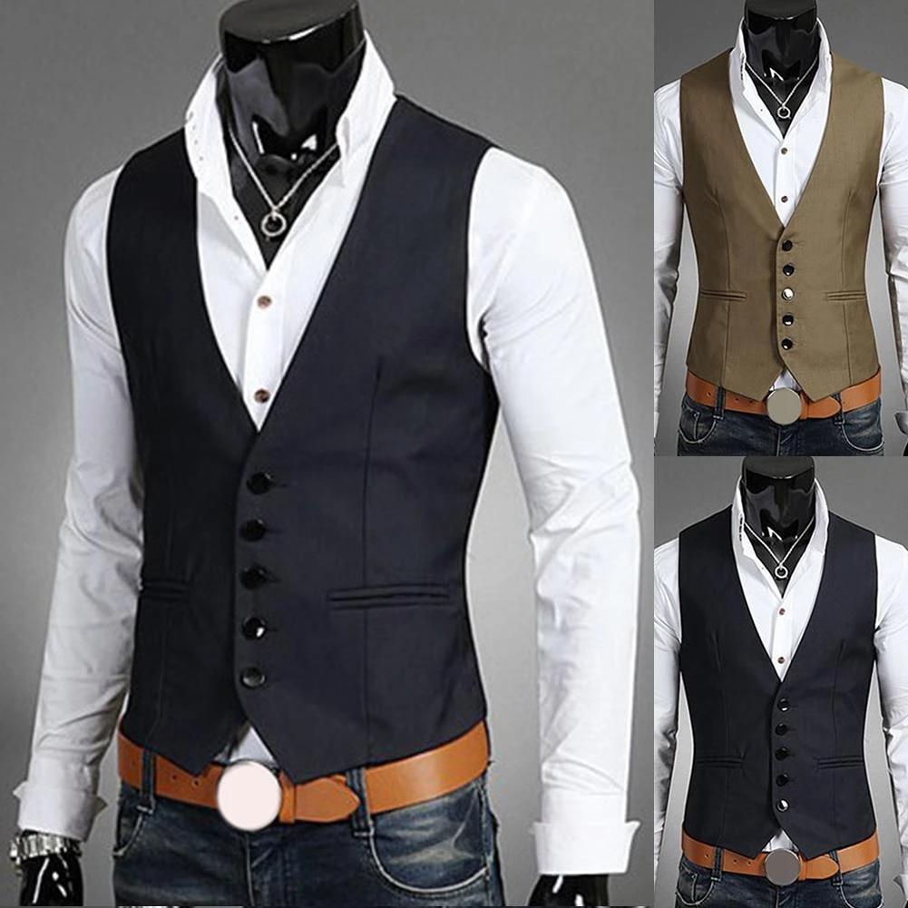 New Dress Vests For Men Slim Fits Mens Vest Male Waistcoat Gilet Homme Casual Sleeveless Formal Business Jacket Chaleco Hombre Vests Aliexpress