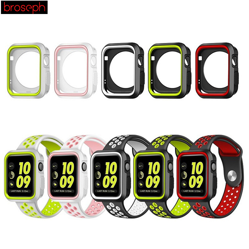 Watch Protector Bumper For Apple Watch 4 Case 40mm 44mm Silicone Watch Cases Cover For Iwatch Series 3 2 1 Strap 38mm 42mm