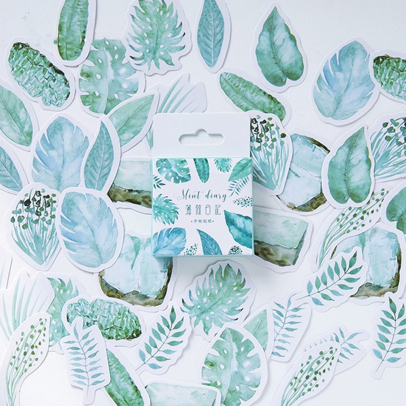 45pcs Mint Diary Stickers Set 40mm Mini Fresh Green Plant Leaf Sticker DIY Adhesive Sealing Paste Decoration Gift Seal F422