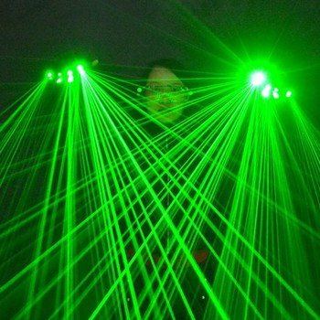 DJ Club red light Green Laser Gloves For LED luminous stage performance costumes Show