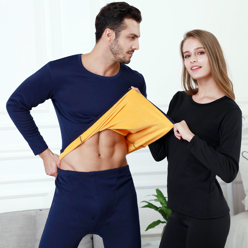 Image 4 - Perfering 2/Pcs Velvet Thick Thermal Underwear Set  For Men Woman Warm Layered Clothing Pajamas Set Thermal  Long Johns Hot Dry-in Pajama Sets from Underwear & Sleepwears on AliExpress