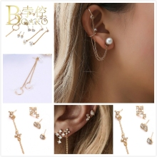 BOAKO Korean Earring Set For Women Long Tassel Earings Pearl Zircon Moon Stone Girl Ear Bone Chain Clip aretes Femme Z5