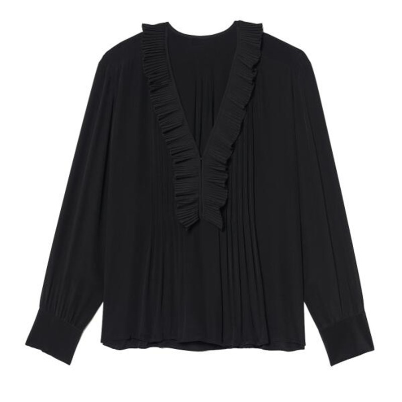 Silk women's Shirt V Neck Stringy Selvedge ladies Casual Long Sleeve Blouses and tops Black
