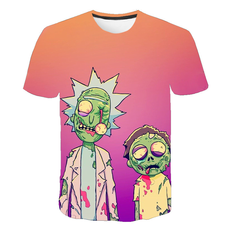 Rick And Morty Summer Men's High Quality T-shirt Short Sleeve Round Neck T-shirt Loose 3D Printed Men's T-shirt Casual Fashion S
